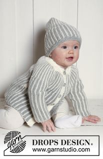 """Magnus Set - DROPS jacket and hat knitted from side to side in garter st in """"Merino Extra Fine"""". - Free pattern by DROPS Design"""