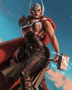 """Artist John Staub created this beautiful redesign of Marvel's new Thor. The new comic seems to be doing well with the fans. The illustration came along with the following note from the artist: """"Been reading the new Thor comics. Did my take on the new wielder of the hammer."""" Turned out to be a pretty kick-ass character design. I wonder if Marvel will ever integrate this Thor into their cinematic universe. Do you think that's where they might take things?"""