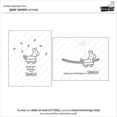 Lawn Fawn - Year Seven - CLEAR STAMPS Hope your birthday is a smash! This cute mini set of clear stamps was created to celebrate Lawn Fawn's seventh birthday.S