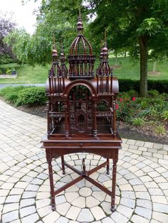 Large Victorian Mahogony Birdcage with Stand - Beautiful!