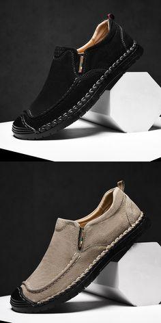 Mens Fashion Boat Shoes Driving Flat Sneaker Slip On Loafer Cowhide Slip On Shoe