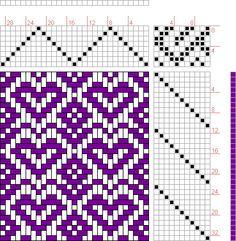 Hand Weaving Draft: Hearts-flowers, Judie Eatough, 8S, 11T - Handweaving.net Hand Weaving and Draft Archive
