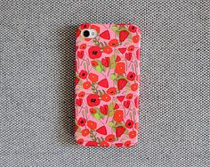 iPhone case with pretty poppy pattern