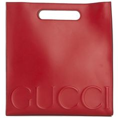 LEATHER SHOPPING BAG GUCCI ($2,015) ❤ liked on Polyvore featuring bags, handbags, 100 leather handbags, shopper handbags, red leather handbag, leather bags and gucci