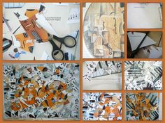 Picasso inspired collage.  Great idea for kids art lesson
