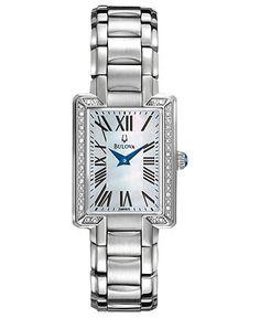 Bulova Watch, Women's Diamond Accent Stainless Steel Bracelet 22mm 96R160