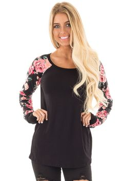 Lime Lush Boutique - Black Top with Floral Print Long Sleeves, $29.99 (https://www.limelush.com/black-top-with-floral-print-long-sleeves/)