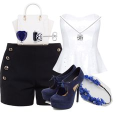 A fashion look from July 2015 featuring white top, denim shorts and navy blue shoes. Browse and shop related looks. Navy Style, Tilt, Polyvore Fashion, Tiffany, Shoe Bag, Stuff To Buy, Shopping, Collection, Shoes