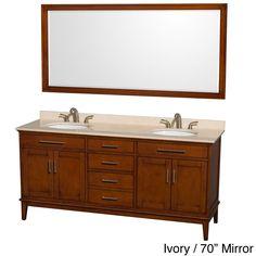 "Wyndham Collection Hatton Light Chestnut Wood 72-inch Double Vanity (Light chestnut 72"", ivory top, 70"" mirror), Brown, Size Double Vanities"