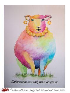 """No. 034 der wandklex-Unikatserie """"Ich war schon immer das Bunte Schaf der Familie"""" - nummerierte Einzelstücke! Ihr eigenes Schaf können Sie als Ihr Designerstück von wandklex® Ingrid Heuser, Ratzeburg, Germany bestellen:  im kleinen Klexshop bei DaWanda auf http://de.dawanda.com/shop/wandklex ©  Kunstatelier wandklex Ingrid Heuser, D-Ratzeburg Besuchen Sie mich auch auf facebook: https://www.facebook.com/wandklex"""