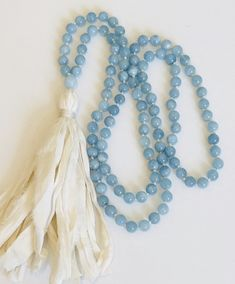 Discover Your Inner Self- Aquamarine Mala Necklace - Mala Beads 108 Hand Knotted by MoksaMalas on Etsy