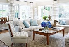Family Room/House of Turquoise Cottage Living, Home Living Room, Living Room Decor, Living Spaces, House Of Turquoise, Die Hamptons, Hamptons House, Cottage Style Homes, My New Room
