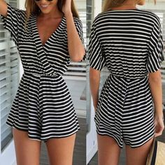Casual V-Neck Half Sleeve Striped Elastic Waist Women's Dress