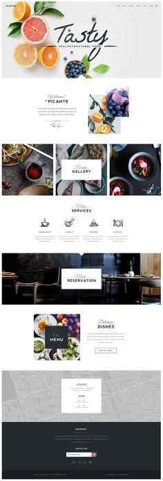 Picante Restaurant & Essen WordPress Theme on Behance - WordPress Website Design . Wordpress D Web Design Trends, Layout Design, Design De Configuration, Layout Web, Site Web Design, Design Sites, Website Designs, Website Ideas, Website Web