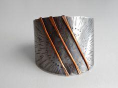 Sun Cuff Bracelet Mixed metal cuff bracelet hammered by AshkalShop, $70.00