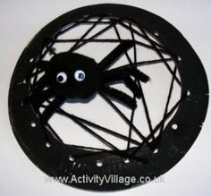 Paper Plate Spider Web threading: This activity works on praxis through generating ideas of how to complete threading of the web and how to imitate a spider web as much as possible. moreover, this activity requires planing and sequencing in order to end with spider web like finish.