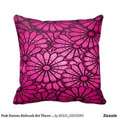 Pink Daisies Airbrush Art Throw Pillow