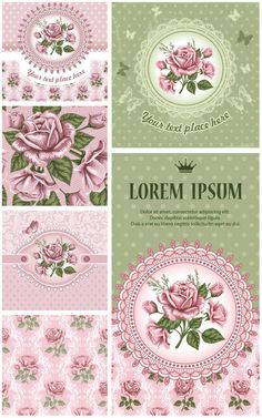 Romantic postcard templates with roses in vector format for your designs, DIY or illustrations.
