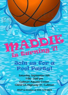 Basketball Pool Party Invitation Custom Pool Party