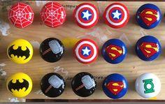 Marvel DC Themed Pine hand painted drawer door knobs handles Superhero Minecraft