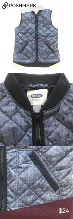 "Old Navy Blue Quilted Vest Blue quilted vest by Old Navy with a distressed denim or chambray look. Has front zipper and pockets. Size small. Approx measurements lying flat: 19"" bust, 24"" front length, 25.5"" back length. Excellent condition.  No trades. Reasonable offers welcome. Old Navy Jackets & Coats Vests"