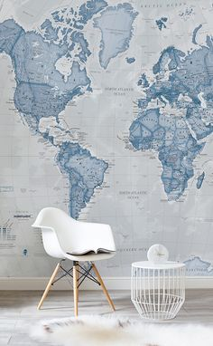 Looking for a bit of peace and quiet? The soothing blues of this map wallpaper help to create a soothing atmosphere, and works wonderfully for reading spaces. Unwind with this beautiful map in the background.