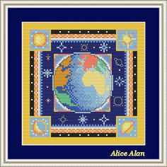 Cross Stitch Pattern Sampler Space Planet Earth Counted Cross Stitch Pattern/Instant Download Epattern PDF File