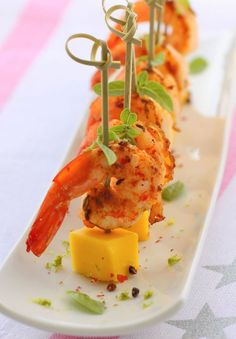 Spicy Shrimp Tapas with mango, fennel seeds. Spanish food.