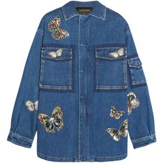 Valentino Butterfly-appliquéd stretch-denim jacket (£1,440) ❤ liked on Polyvore featuring outerwear, jackets, tops, coats & jackets, mid denim, blue zipper jacket, blue jackets, zipper jacket, embroidered jacket and valentino jacket