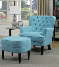 Add stylish character to any room with the colorful Petra Fabric Accent Chair With Ottoman. The chair is traditionally styled with a subtle wingback design and deep diamond button tufting. Nickel nailhead trim outlines the arms and back adding a touch of elegance.