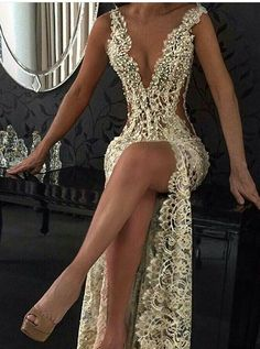 Prom Dress Princess, Sexy Lace Evening Gowns 2018 Sleeveless Beading Split Popular Prom Dresses, Shop ball gown prom dresses and gowns and become a princess on prom night. prom ball gowns in every size, from juniors to plus size. Elegant Dresses, Pretty Dresses, Sexy Dresses, Dresses 2016, Sexy Long Dress, Dresses Online, Lace Formal Dresses, Formal Gowns, Long Gold Dress
