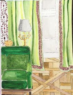Interior Painting. Green livingroom artwork by Pamela Jaccarino