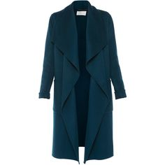 LK Bennett Fran Evergreen Double-faced Wool Coat With Detachable Belt ($795) ❤ liked on Polyvore featuring outerwear, coats, casacos, green, blue coat, reversible wool coat, green coat, shawl collar coats and teal coat