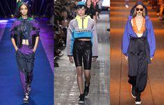 Спортивный стиль в духе 80-х. Велосипедки, объемные ветровки и нейлоновые шаровары будут актуальны в весенне-летнем сезоне 2017. Versace, Wong, DKNY.