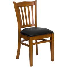 HERCULES Series Cherry Finished Vertical Slat Back Wooden Restaurant Chair - Black Vinyl Seat