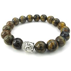 KONOV Jewelry Tiger Eye Gemstone Mens Womens Bracelet, 10mm Energy Bead, Buddha Mala, Brown Silver | Amazon Promo Code