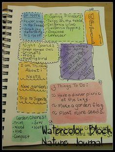nature journal idea from Harmony Art Mom - Watercolor Block Nature Journal. Art Journal Pages, Journal Prompts, Art Journals, Junk Journal, Harmony Art, Altered Book Art, Nature Study, Nature Nature, Nature Journal