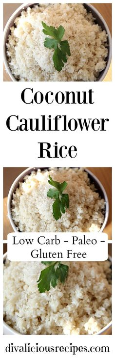 This coconut cauliflower rice recipe is a great side dish for a curry. It is definitely for lovers of coconut with most ingredients being coconut. Recipe: http://divaliciousrecipes.com/2013/01/24/coconut-cauliflower-rice/