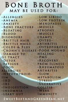 Bone Broth may be used for...