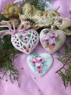 $32 Hand Painted Roses Porcelain Heart Shape Ornament...Exclusive To Shabbyfufu