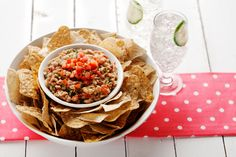 Skip the chips and use for Jar salad .Mexican Cilantro Bean Spread with Home-Fried Taco Chips - Price Chopper Recipe Cilantro, Fried Tacos, Chile Chipotle, Vegetable Sticks, Crispy Chickpeas, Great Appetizers, Appetizer Recipes, Fresh Salsa, Soup And Salad