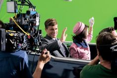 "Working in front of a green screen, Rob Lowe and Ginnifer Goodwin film the shooting scene in the National Geographic Channel's ""Killing Kenndy"", 2013."