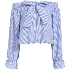 Boat Neck With Bow Vertical Striped Blue Top   From Polyvore. I NEED THIS!! So kawaii...