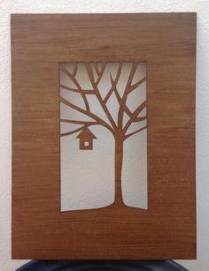 Quadro casinha na árvore - mdf 3 mm - cortado a laser - decoração em envelhecimento