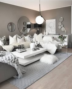 About Gorgeous White Room, White and Silver Living Room, White SeC - myriadinspira Glamour Living Room, Silver Living Room, Decor Home Living Room, Elegant Living Room, Living Room Grey, Living Room Designs, Home Decor, Bedroom Decor, Living Rooms