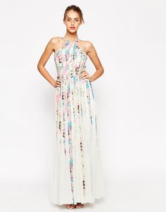 Mesh Fit And Flare Maxi Dress In Floral Print