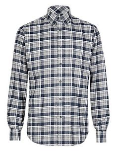 Grey Mix 2in Longer Pure Cotton Thermal Flannel Checked Shirt