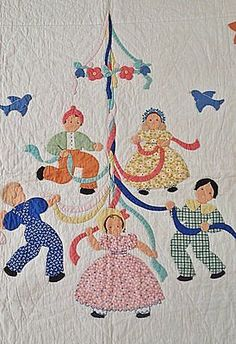 Vintage 1930s Best Baby Crib Quilt, Children's Maypole Dance
