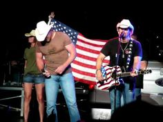 "Toby Keith and Trace Adkins perform ""Courtesy of the Red, White and Blue (The Angry American)"" on Toby Keith's America's Toughest Tour from the Comcast Cente. Country Music Videos, Country Music Singers, Country Artists, Kinds Of Music, My Music, Trace Adkins Songs, Military Songs, Old Glory, Yesterday And Today"