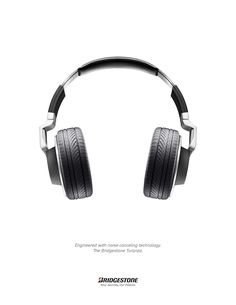 """""""Engineered with noise canceling technology."""" Bridgestone tire ad shot by Craig Cutler."""